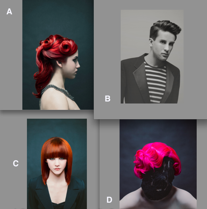 4 photos of different stles created by designers at Jyl Craven Hair Design