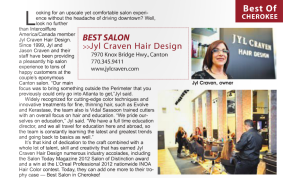 a screenshot of the article that shows Jyl Craven Hair Design was the best salon in Cherokee