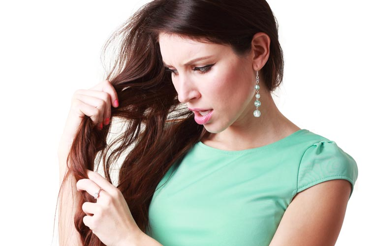 stressed hair damage brunette