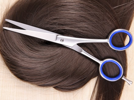Hair and haircutting scissors on top